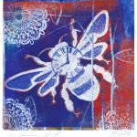 Blue Bee Time-1 © Kim Laurel • Gelatin monoprint and mixed media